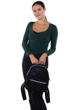 Mini Sparkly Backpack in Polyester, black color, front view, handheld by model