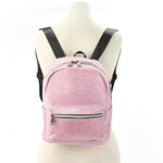 Mini Sparkly Backpack in Polyester, pink color, front view