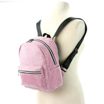 Mini Sparkly Backpack in Polyester, pink color, side view