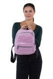 Mini Sparkly Backpack in Polyester, pink color, front view, handheld by model