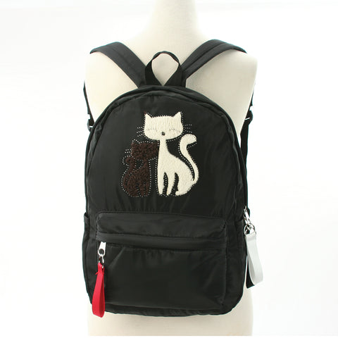 Furry Cats Backpack in Polyester, black color front view