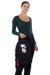 Furry Cats Backpack in Polyester, black color, front view, handheld by model