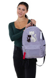 Furry Cats Backpack in Polyester, grey color, front view, handheld by model