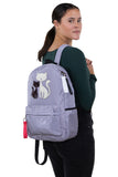 Furry Cats Backpack in Polyester, grey color, backpack style on model