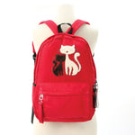 Furry Cats Backpack in Polyester, red color front view