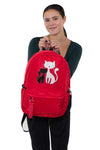 Furry Cats Backpack in Polyester, red color, front view, handheld by model