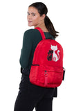 Furry Cats Backpack in Polyester, red color, backpack style on model