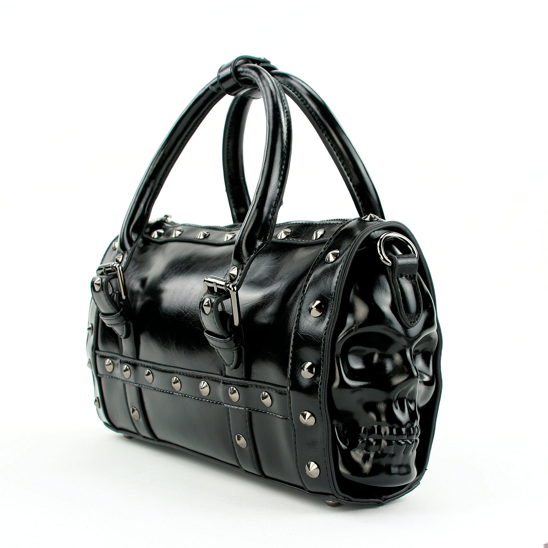 Dual Skull Satchel Bag in Vinyl front face view