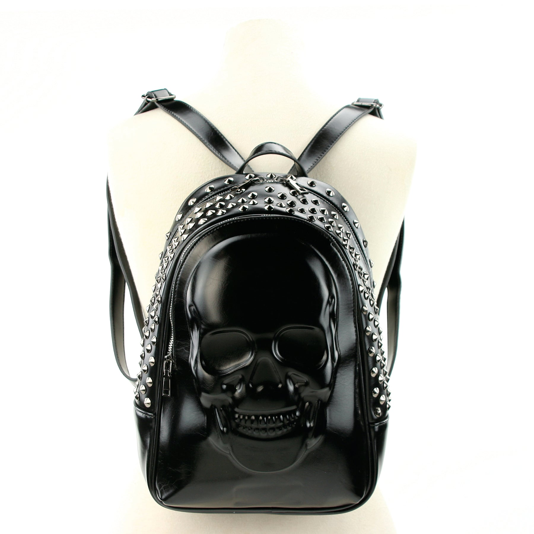 Skull Embossed Backpack in Vinyl front view