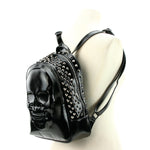 Skull Embossed Backpack in Vinyl side view
