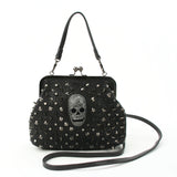 Studded Skull Shoulder Bag in Vinyl front view