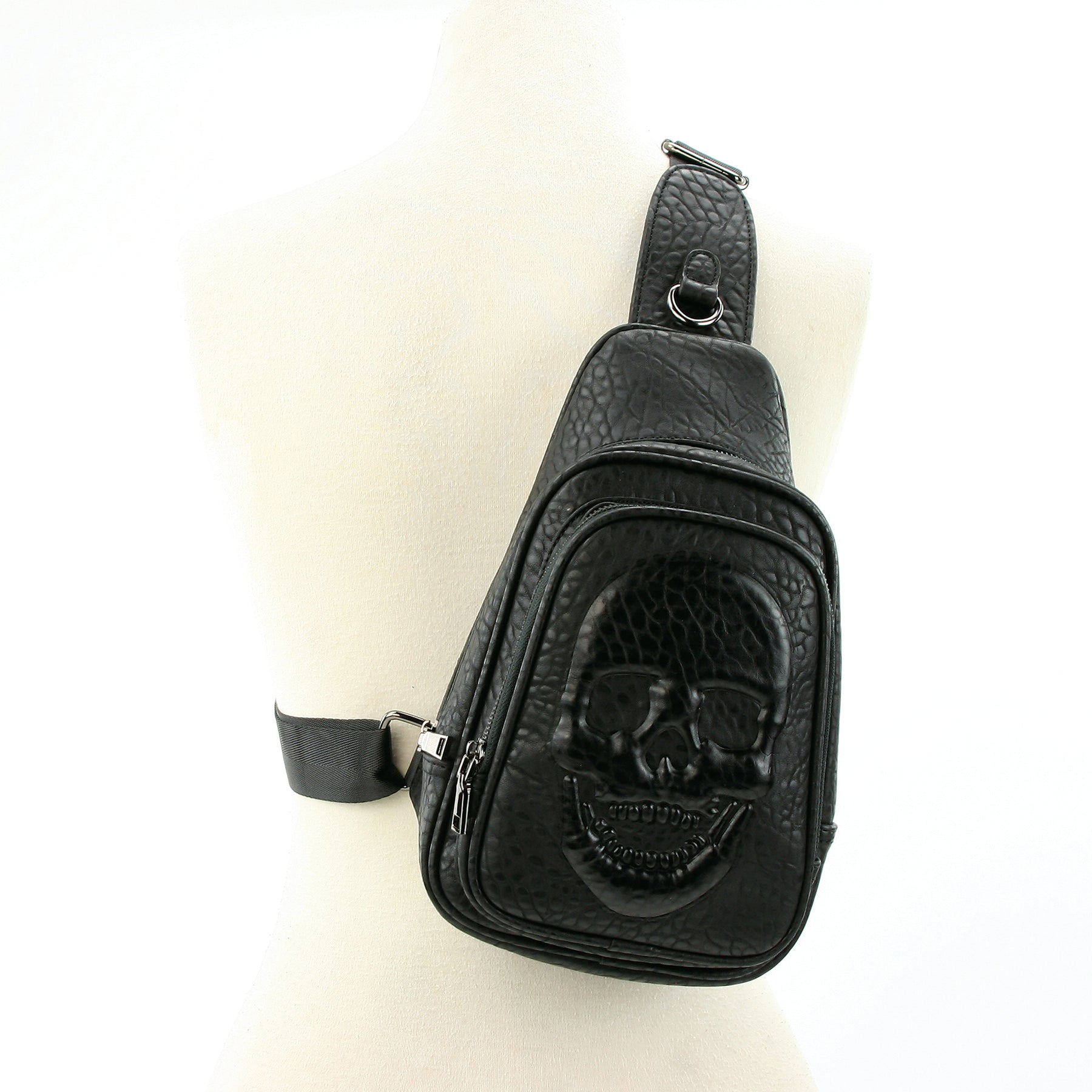 Skull Embossed Sling Bag in Vinyl front view