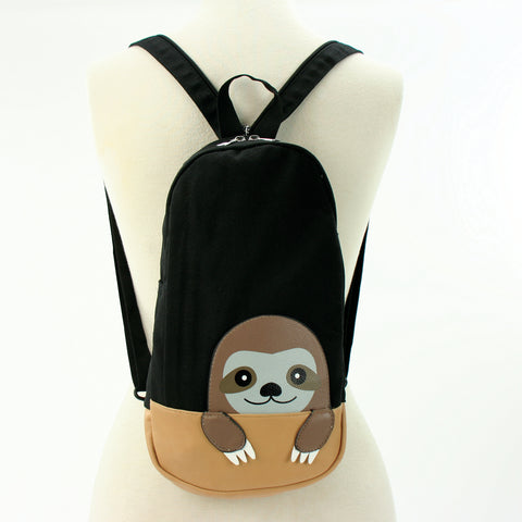 Peeking Sloth Body Sling Bag/Backpack in Canvas, backpack style front view