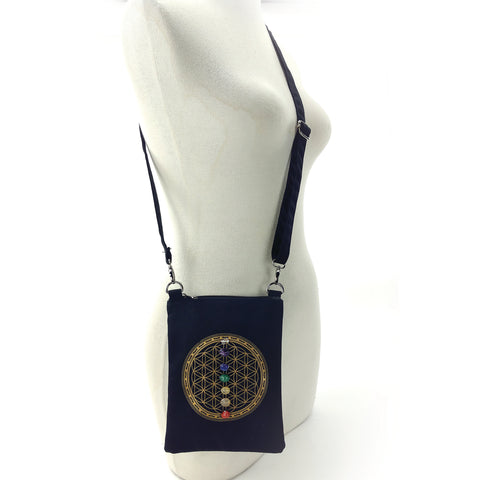 Sacred Geometry 7 Chakras Crystal Grid Cross Body in Canvas Material, front view