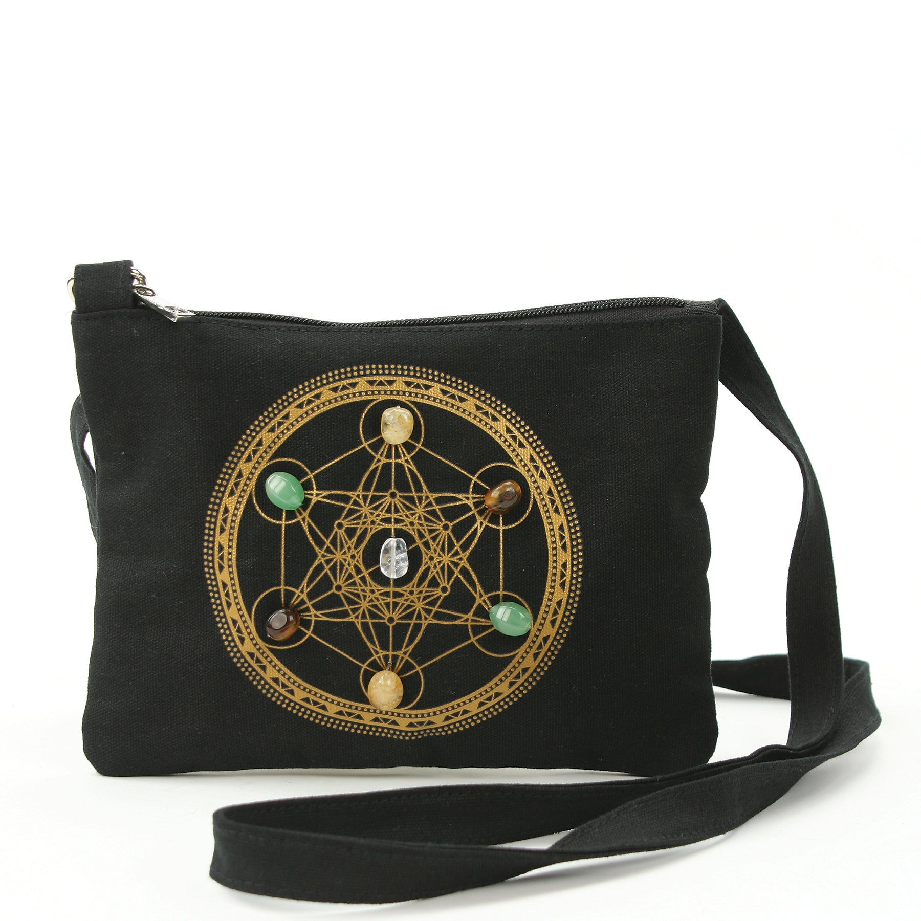 Sacred Geometry Wealth and Prosperity Crystal Grid Crossbody Bag in Canvas Material front view