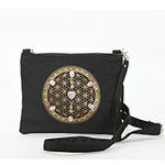 Sacred Geometry Love and Compassion Crystal Grid Crossbody Bag in Canvas Material front view