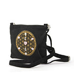 Sacred Geometry Love and Compassion Crystal Grid Crossbody Bag in Canvas Material side view
