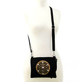 Sacred Geometry Love and Compassion Crystal Grid Crossbody Bag in Canvas Material, on mannequin front view