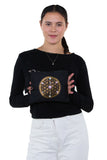 Sacred Geometry Love and Compassion Crystal Grid Crossbody Bag in Canvas Material, front view, handheld by model
