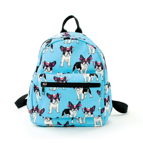 Boston Terrier in Glasses Mini Backpack in Polyester Material front view