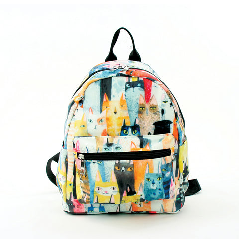 Many Cats Mini Backpack in Polyester Material front view