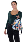 Many Cats Mini Backpack in Polyester Material, front view, handheld by model