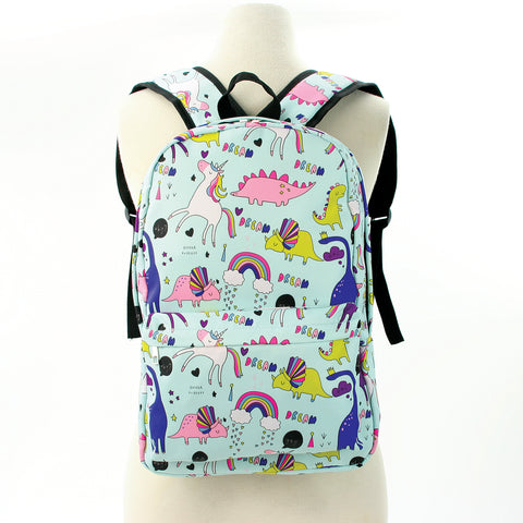 Unicorn Dream and Dino Backpack in Polyester Material front view