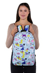 Unicorn Dream and Dino Backpack in Polyester Material, front view, handheld by model