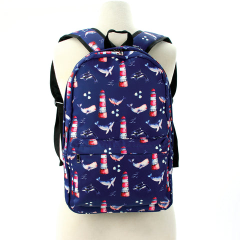 Whales Backpack in Polyester front view