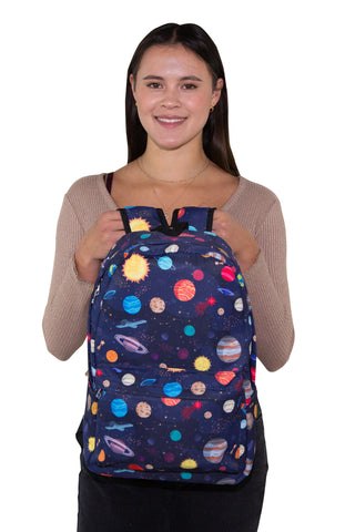 Space X Planets Backpack in Polyester Material, front view, handheld by model