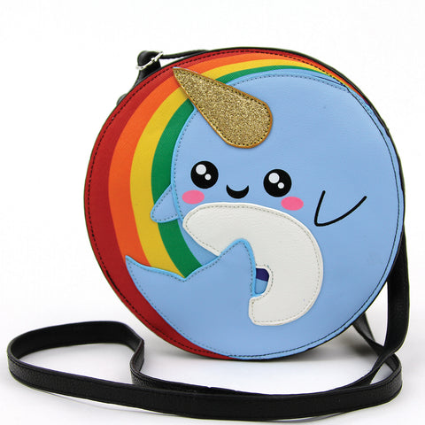 Narwhal in Rainbow Crossbody Bag in Vinyl frontal view