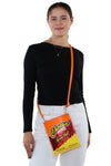 Cheese Crunch Crossbody Bag in Vinyl, crossbody style on model