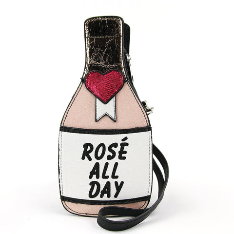 Rose Wine Crossbody Bag in Vinyl Material front view