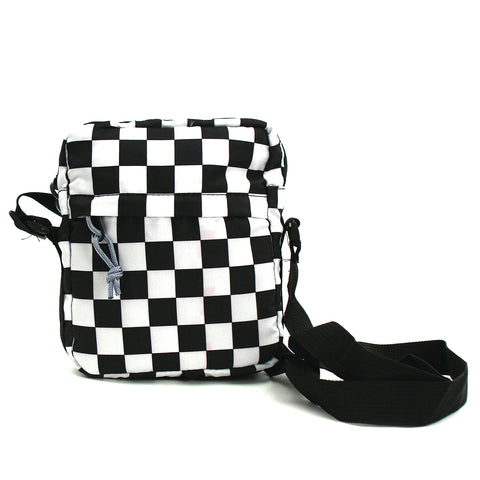 Checkered Print Small Shoulder Bag in Polyester front view