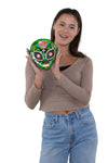 Sugar Skull Alien Crossbody Bag in Vinyl, handheld by model