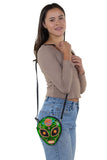 Sugar Skull Alien Crossbody Bag in Vinyl, shoulder bag style on model
