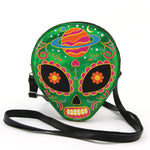 Sugar Skull Alien Crossbody Bag in Vinyl front view