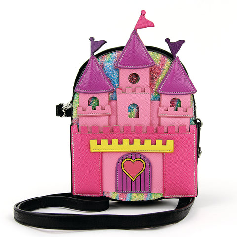 Princess Castle Crossbody Bag in Vinyl Material front view