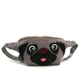 grey pug fanny pack frontal view
