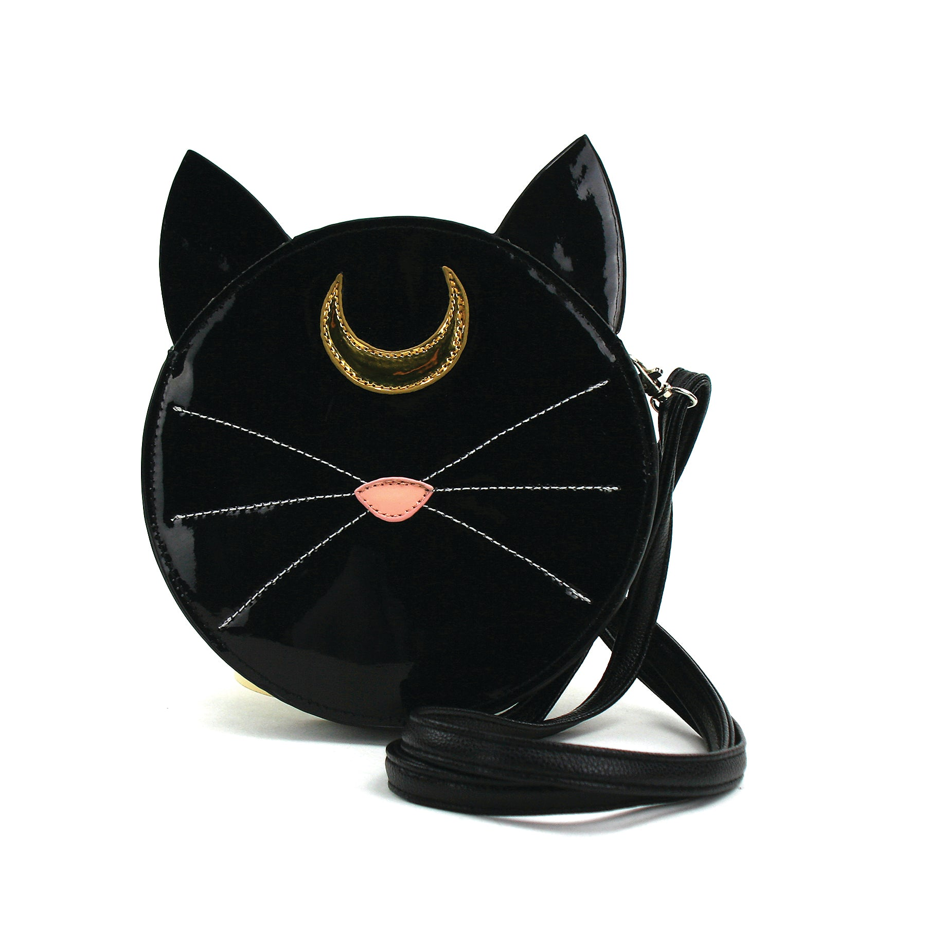 Mystical Black Cat Face Crossbody Bag in Vinyl front view