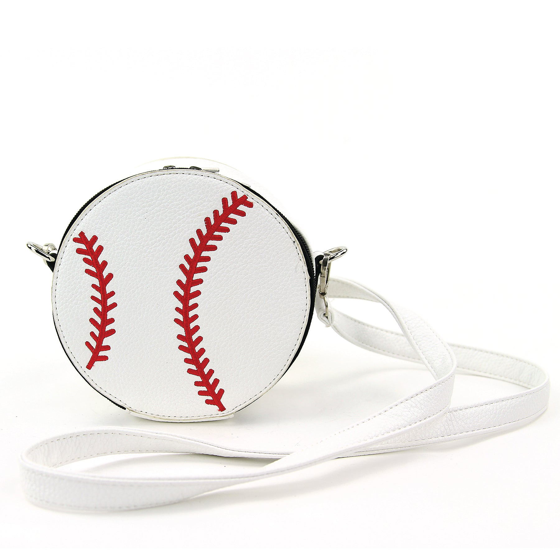 Baseball Crossbody Bag in Vinyl Material front view