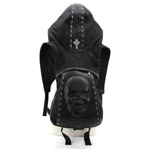 Skeleton Backpack with Hoodie in Vinyl and Polyester front view