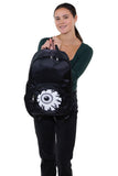 Eyeball Pocket Backpack in Polyester, front view, handheld by model