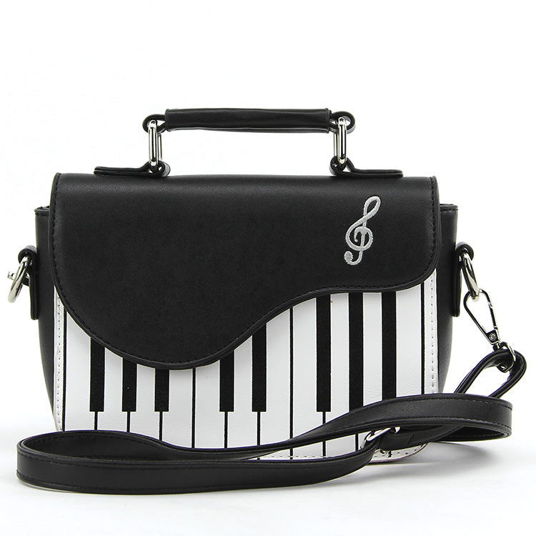 Keyboard Satchel Crossbody Bag in Vinyl front view