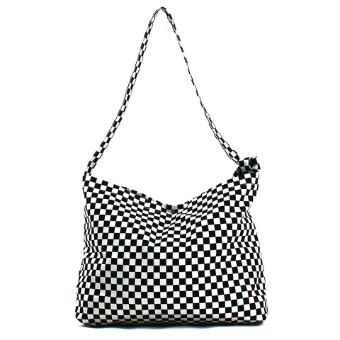 Race Checkered Print Hobo Bag in Canvas front view