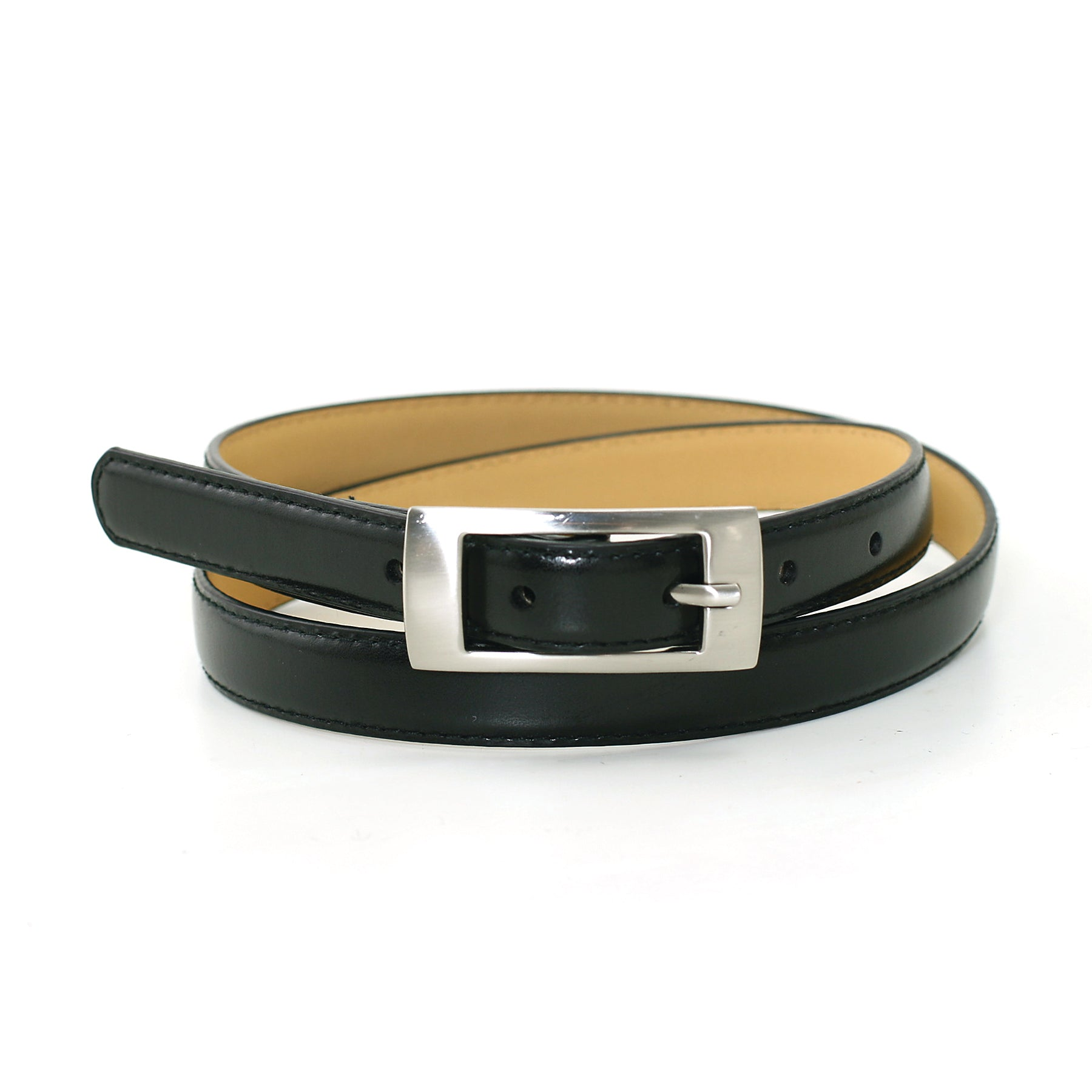 Women's 3/4 Inches Width Brass Belt Buckle Fashion Leatherette Belt front view