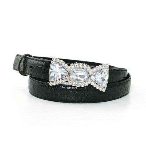 "1"" Women's Rhinestone Embellished Candy Silver Buckle on Quality Croc Leatherette Belt Strap front view"