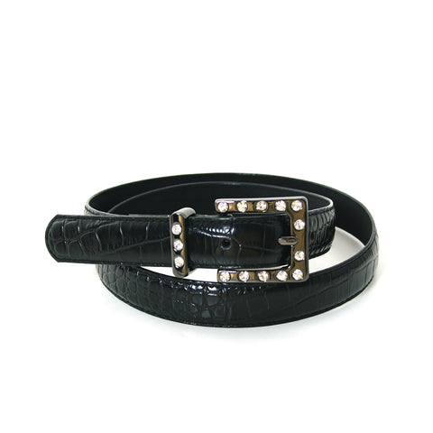 "1"" Women's Rhinestone Embellished Gun Metal Square Buckle on Quality Croc Leatherette Belt front view"