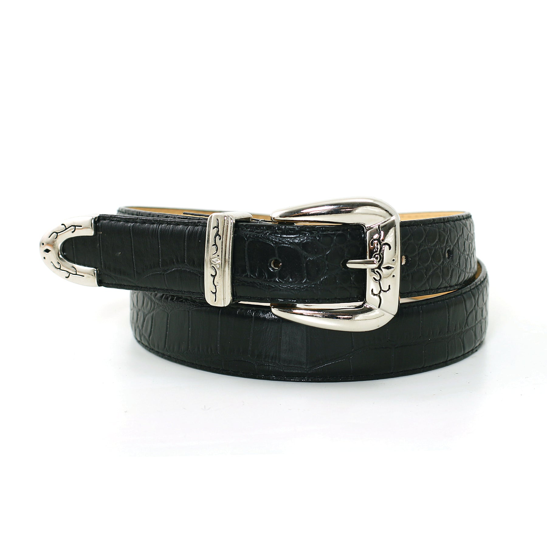 "1 1/8"" Women's Classic Silver Polished and Sleek Buckle on Quality Croc Leatherette Belt Strap front view"