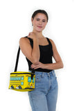 Yellow Bus Insulated Lunch Bag in Vinyl, on model